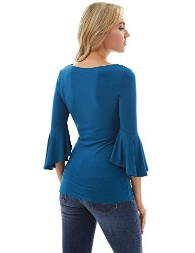 PattyBoutik Manette clapet Femmes Turquoise Fonce Blouson 74qzT7