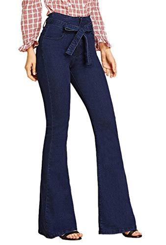 Bootcut Belt - FEESON Women's Fashion Belt Tied Wide Leg Slim Fit Stretch Bootcut Jeans Navy