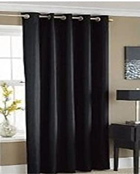 EYELET THERMAL BLACKOUT DOOR CURTAIN - BLACK- 66 inch x 84 inch ...