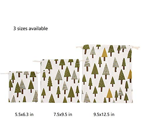 Nuni Pine Tree Pattern Cotton Double Drawstring Pouches Muslin Bags Gift Bags Sacks Sachet Bags for Jewelry Candy Favors Wedding Birthday Party Beige 3 Sizes Available 1-12 Counts (5.5x6.3/1 Bag) -