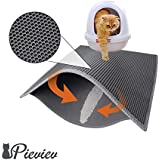 """Pieviev Cat Litter Mat Litter Boxes Trapper Mat of Jumbo Size 30"""" X 24"""", Honeycomb Double-Layer Waterproof Urine Proof Material, Easy Clean Washable and Floor Carpet Protection (Grey)"""