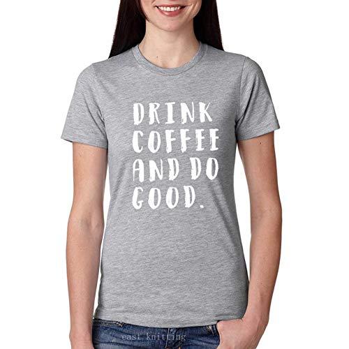 05e3f3a2845bfb cheap LIULINUIJ Sommer Trinken Kaffee Und Tun Gut Drucken T-Shirt Für  Frauen Casual Top