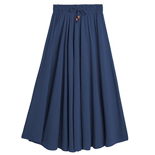 Maison DEBAIJIA Jupe Elgante Femme Plage Et Bleu Vintage pour Marine Jupe Elastique Taille Coton Dcontract Maxi Plisse Classique Simple AAHwx