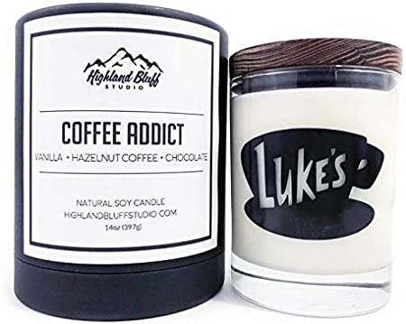 Candle Hazelnut Coffee Scented Hand Poured Soy Wax 16oz 120 Hours Burn Time