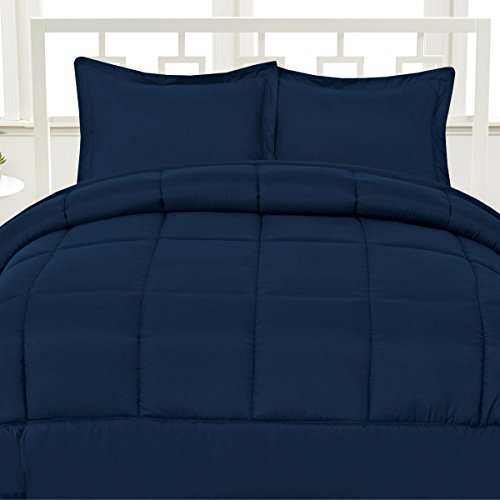 Aurora Bedding Luxurious Down Alternative Soft Solid Box Stitch Brushed Microfiber Comforter Bedding, Queen, Navy