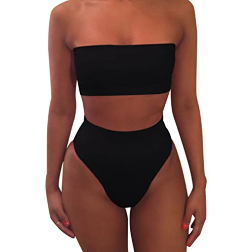 Mujeres Bikini Talle Alto Trajes de Baño Bandeau Bañadores Dos Piezas Bikinis Push Up Mujer Traje de Baño Sin Tirantes para Mujer Ropa de Baño Deportivos Biquini Señora Bañador Brasileño Negro