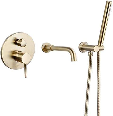 CHUNSHENN 手には耐久性のあるつや消し金の蛇口の浴室のシャワーの蛇口ミキサー水のセットを開催しました バス用品