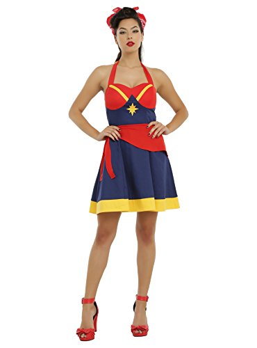 5ee5a752b2 Amazon.com  Her Universe Women of Marvel Captain Marvel Halter Dress   Clothing