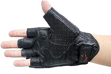 IAMZHL Gants de Moto Mitaine Gant Demi Doigt sans Doigts en Cuir D/ét/é Hommes Femmes Scooter Moto Mitaine /Électrique V/élo Racing V/élo/-Black-2-XL