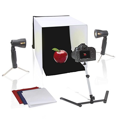 Pyle 20'' x 20'' inch Portable Tabletop Photography Studio Photo Lighting Kit - Set Includes Light Box / Tent, 2 Lamp Lights, Camera Stand & White, Black, Blue, Red Background Cloth Sheet - PSTDKT6