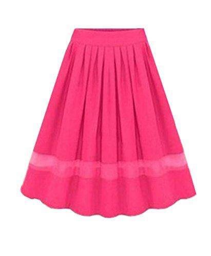 Aoliait Femme Jupe en t Tendance Jupe Plisse Casual Jupe Mousseline ElGant Jupe A-Line Slim Fit Femelle Skirt Swing Jupe Rosy