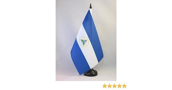 AZ FLAG Bandera de Mesa de Nicaragua 21x14cm - BANDERINA de DESPACHO NICARAGÜENSE 14 x 21 cm: Amazon.es: Hogar