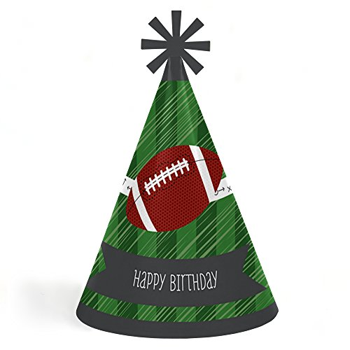 End Zone - Football - Cone Happy Birthday Party Hats for Kids and Adults - Set of 8 (Standard Size)