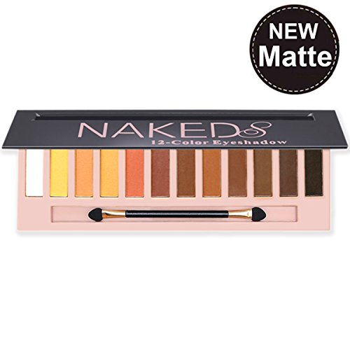 12 Colors Eyeshadow Pallete Natural Nudes Naked Matte & Shimmer &Glitter Professional Eye Shadow Pallete Set for Smoky Cosmetic,Waterproof Cosmetic Makeup Kit (Matte)