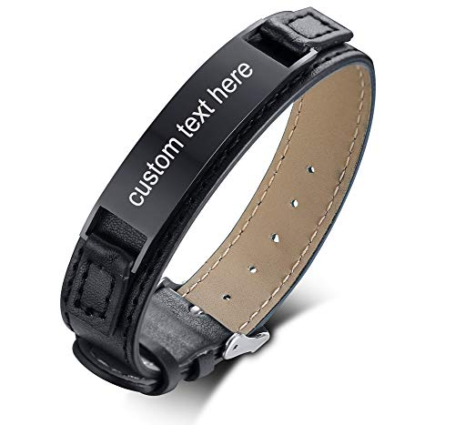 - Personalized Engraving Men's Leather Bracelet Stainless Steel ID Plate Custom Name Leather Bracelet for Him,Adjustable