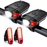 Akale Rechargeable Bike Light Set, LED Bicycle Lights Front and Rear, 4 Light