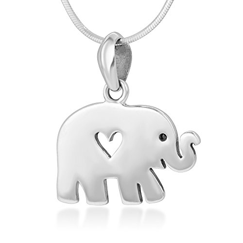 925 Sterling Silver Open Heart Lovely Little Elephant Pendant Necklace for Women, 18
