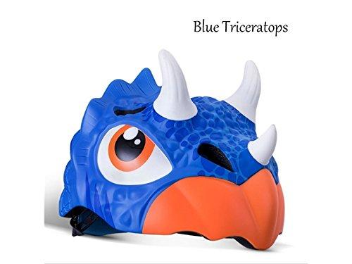 Wesource Children Riding Helmet Roller Skating Cartoon Half Helmet Bicycle Hard Hat(Blue Triceratops) by Wesource
