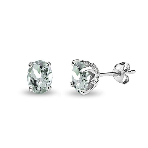 (Sterling Silver Aquamarine and White Topaz Oval Crown Stud Earrings)
