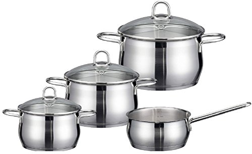 ELO Cookware 90604 Platin Stainless Steel Kitchen Induction Cookware Pots and Pans Set with Shock Resistant Glass Lids, 7-Piece