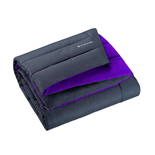 "Columbia Sportswear Indoor-Outdoor Warm & Cozy Soft Fleece Throw Blanket – Zippered Pocket – Water Repellent Fabric & Carry Storage Bag – 50"" x 60"" Charcoal-Purple - Purple Camouflage Fabric"
