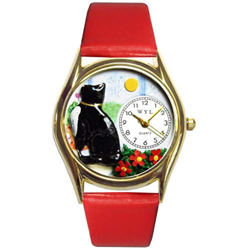Whimsical Watches Kids' C0120009 Classic Gold Basking Cat Red Leather And Goldtone Watch ()