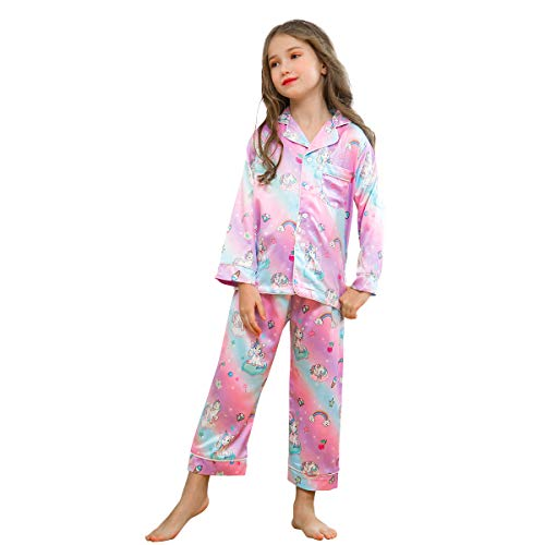 Sylfairy Kids Girls Satin Pajamas Set, Unicorn PJS Set Long Sleeve Button-Down Night Sleepwear Loungewear Homewear(Purple,5-6Years) ()