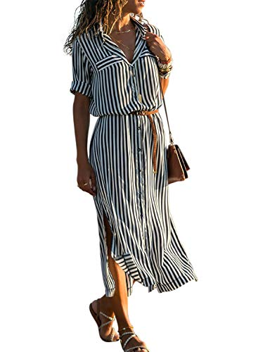 Tab Front Shirt - Asvivid Womens Casual Button Up V Neck Roll Sleeve Colorful Striped Split Work Maxi Shirt Dresses with Belt M Black