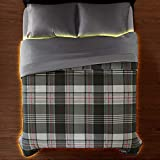 Smoke Grey Comforter Set Plaid Soft Microfiber Spruce Up Your Bedroom with the Printed Comforter You're Sure to Find One That Perfectly Complements Your Room Printed Face Solid Reverse Knife Edge