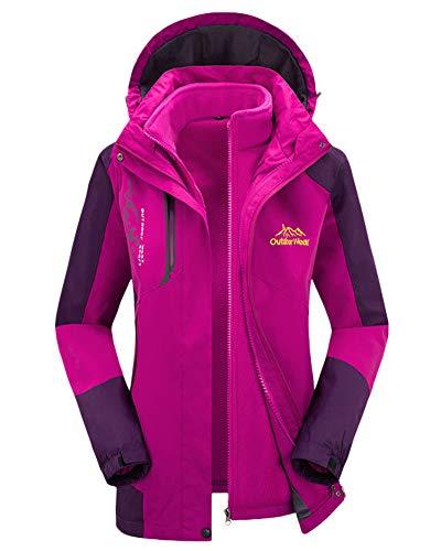 AnyuA Unisex Pieces Casual in Jacket Mens Thickening Women Womens 1 Purple Velvet Plus 3 Two Softshell BB1rwxRq