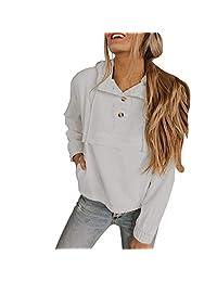 FONMA Women's Short Sweatshirt Solid Button up Neck Long Sleeves Drawstring Hoodie