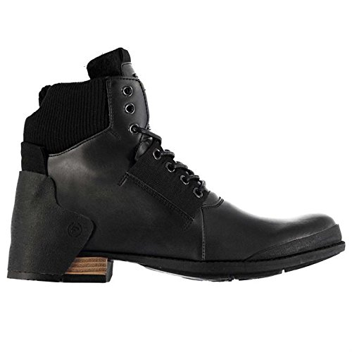 Firetrap Mens Belter Boots Metal Eyelets Knitted Ankle Collar Rugged Shoes Black x4PEGx