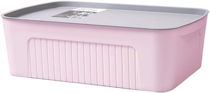 LiChenYao Caja de Almacenamiento de Ropa de plástico Caja de Almacenamiento de guardarropa Caja de Almacenamiento Caja de Almacenamiento de Libros para el hogar Mediana (Color : Rosado)