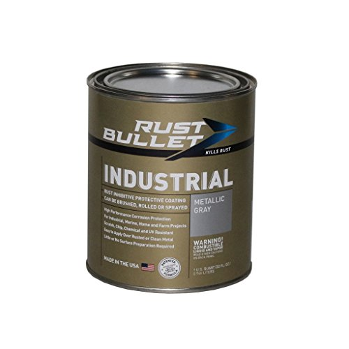 Rust Bullet RB53 Standard Industrial Strength Rust Inhibitor Paint, 1 Quart Metal Can, Metallic Gray