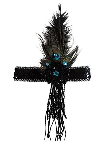 Deluxe Peacock Feather Beaded Flapper 20's Showgirl