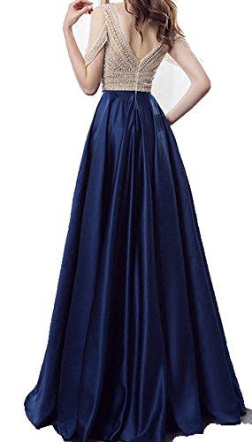 Bessdress Robes Corsage De Perles De Luxe De Bal 2018 Au Large Des Robes Formelles Soirée En Satin Épaule Bd443 Ciel Bleu