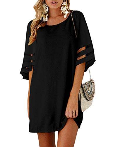 TECREW Womens 3/4 Bell Sleeve Crewneck Mesh Panel Flare Dress Casual Loose Chiffon Swing Dress Black ()