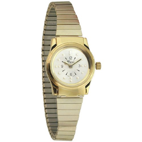 Ladies Gold Tone Quartz Braille Watch with Gold Expansion Band by MaxiAids