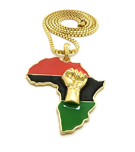 Large Size Fist Power in Pan African Colored Africa Map Pendant 30