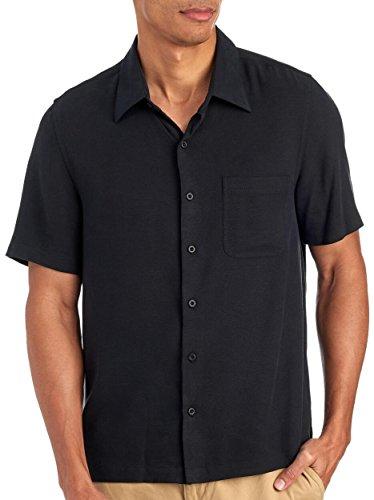 Black Button Down Camp Shirt - Nat Nast Men's Short Sleeve Solid Pocket Silk Camp Shirt X-Large Black