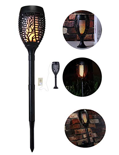 Arturesthome Flickering Flames Torches Lights, Solar Outdoor Waterproof Lighting, 96 LED Tiki Torch, Landscape Decoration Lamp, Upgraded Dancing Flame Light, Solar/USB(1Piece)