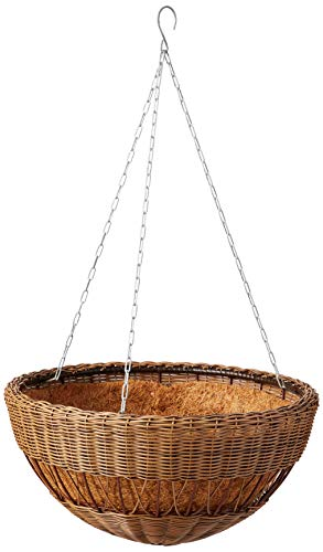 DMC Products 17-Inch Resin Wicker Hanging Basket with Chain Hanger, Antique Brown Dmc Products Antique Planter