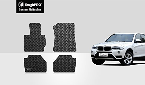 ToughPRO Floor Mats Set (Front Row + 2nd Row) Compatible with BMW X3 - All Weather - Heavy Duty - (Made in USA) - Black Rubber - 2011, 2012, 2013, 2014, 2015, 2016, 2017