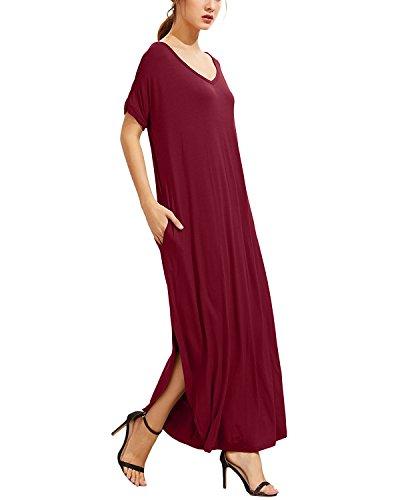 StyleDome - Vestido - trapecio - Manga corta - para mujer rojo vino