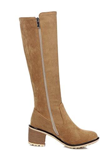 AgeeMi Shoes Mujer Cremallera Puntera Cerrada Tacón Medio Tacón Grueso Boots Marrón