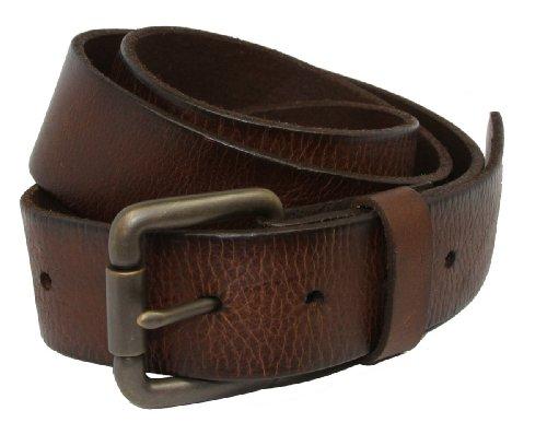 Vintage Full Grain Leather Brass Roller Buckle Belt - Roller Buckle Removable