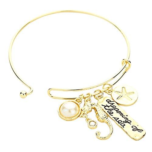 Rosemarie Collections Bracelet pour femme Bracelet à breloques rêveur de la mer Doré