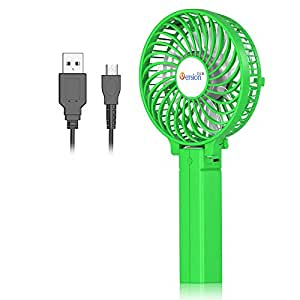 VersionTECH. Mini Handheld Fan, Personal Portable Desk Stroller Table Fan with USB Rechargeable Battery Operated Cooling Folding Electric Fan for Office Room Outdoor Household Traveling Green