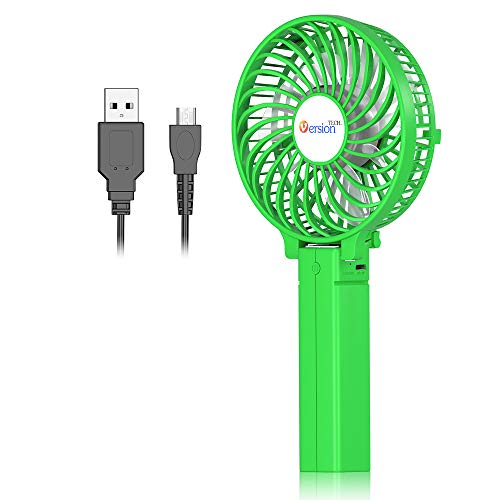VersionTECH. Mini Handheld Fan, Personal Portable Desk Table Fan with USB Rechargeable Battery Operated Cooling Folding Electric Fan for Office Room Outdoor Household Traveling Green (Portable Room Fans)