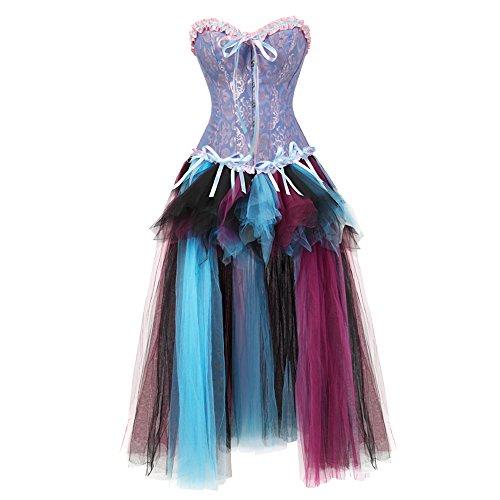 frawirshau Costume Women's Sexy Corset Dancing Dress Renaissance Victorian Corset Skirt Set XL -